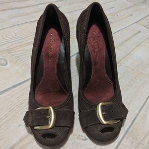 AEROSOLES Peep Toe Suede Leather